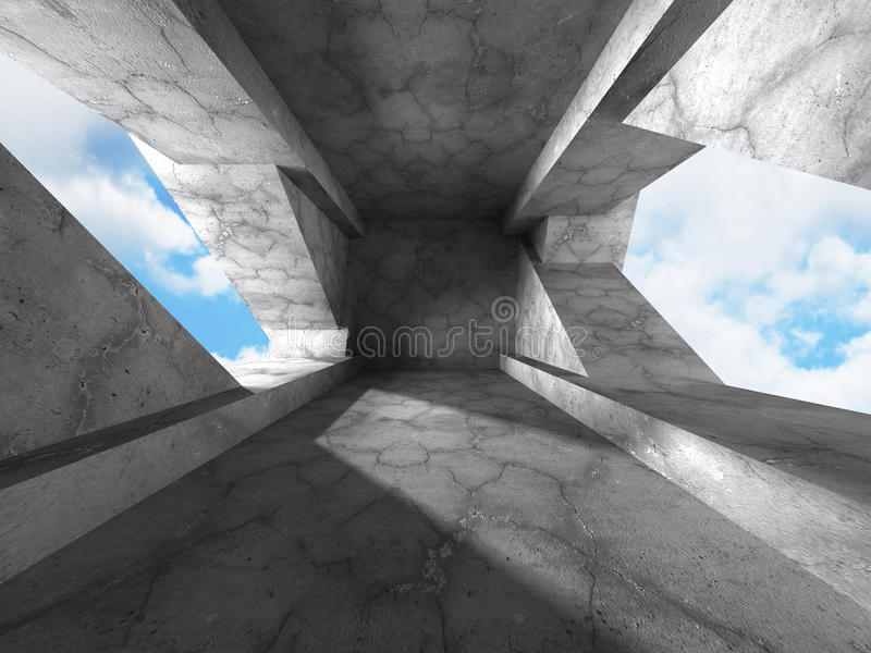 Moderne concrete architectuur moderne de bouwachtergrond royalty-vrije illustratie