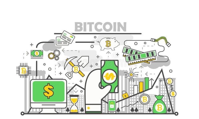 Moderne dünne Linie flache Designillustration des Bitcoin-Konzept-Vektors vektor abbildung