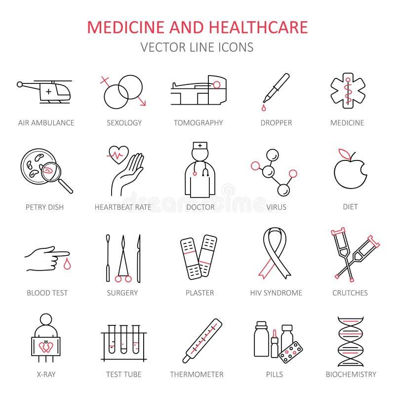 Moderne dünne Linie von Ikonen auf Medizin lizenzfreie abbildung