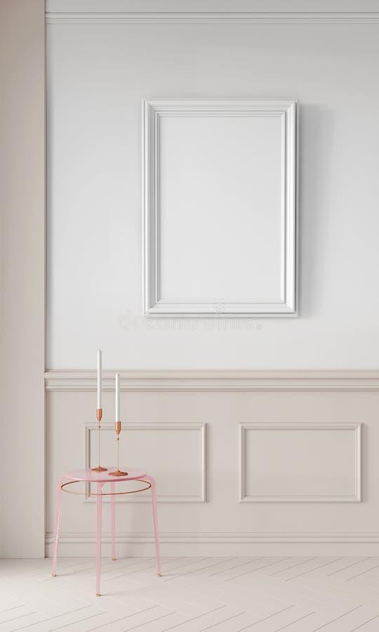Moderne 3d übertragen Schein oben, Entwurf zu allen möglichen Zwecken Minimalistic-Hintergrundkonzept Plakatrahmen im Innenraum vektor abbildung