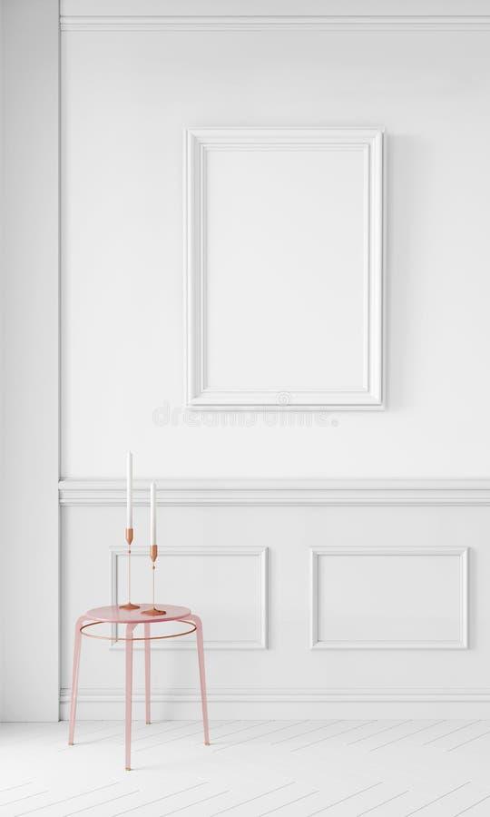 Moderne 3d übertragen Schein oben, Entwurf zu allen möglichen Zwecken Minimalistic-Hintergrundkonzept Plakatrahmen im Innenraum lizenzfreies stockfoto