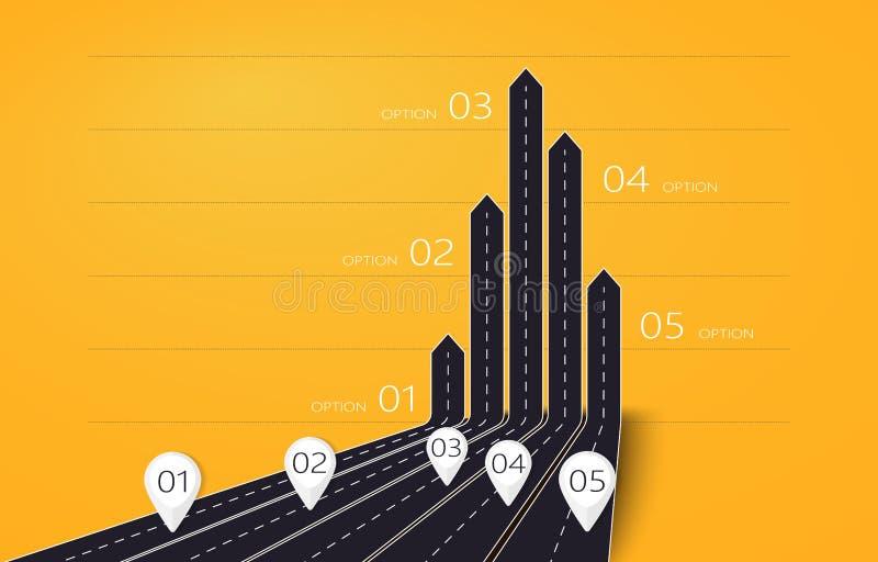 Moderne 3D pijlwegenkaart van zaken en reis infographic met vijf opties voor brochure, diagram, werkschema, chronologie Eps 10 stock illustratie