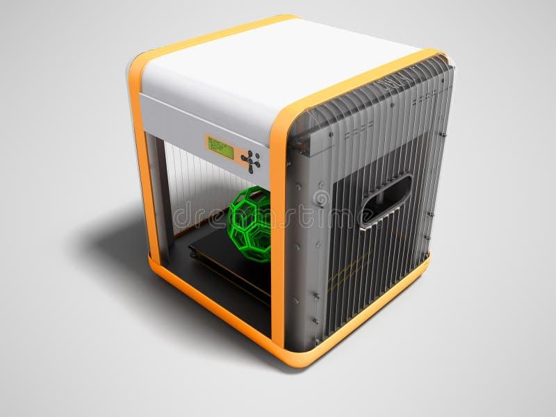 Moderne 3d printer voor het werk met geometrische model groene perspectiv royalty-vrije illustratie