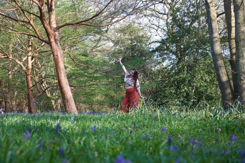 Moderne Dame, die in einem englischen Holz mit Glockenblumen und Bäumen aufwirft stockbilder