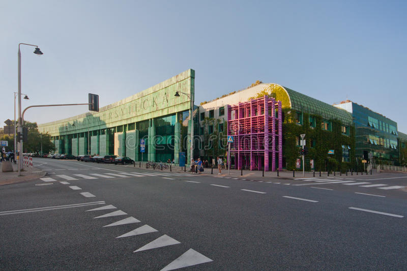 Moderne de bouwwarshau Universitaire bibliotheek royalty-vrije stock foto