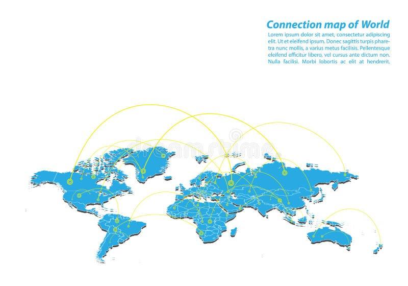 Moderne de la conception de réseaux de connexions de carte du monde, le meilleur concept d'Internet des affaires de carte du mond illustration libre de droits