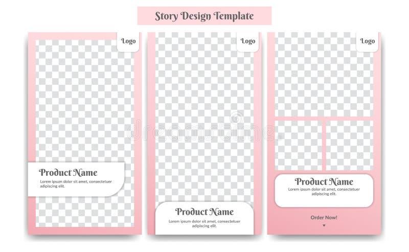 Moderne de ontwerpsjabloon van het Instagramverhaal nam roze kleur zacht en vrouwelijk voor vrouwelijke de bevorderingsadvertenti royalty-vrije illustratie
