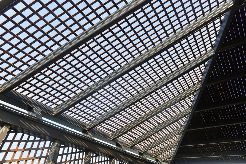 Moderne de structuurbouwwerf van het architectuurdak stock afbeeldingen