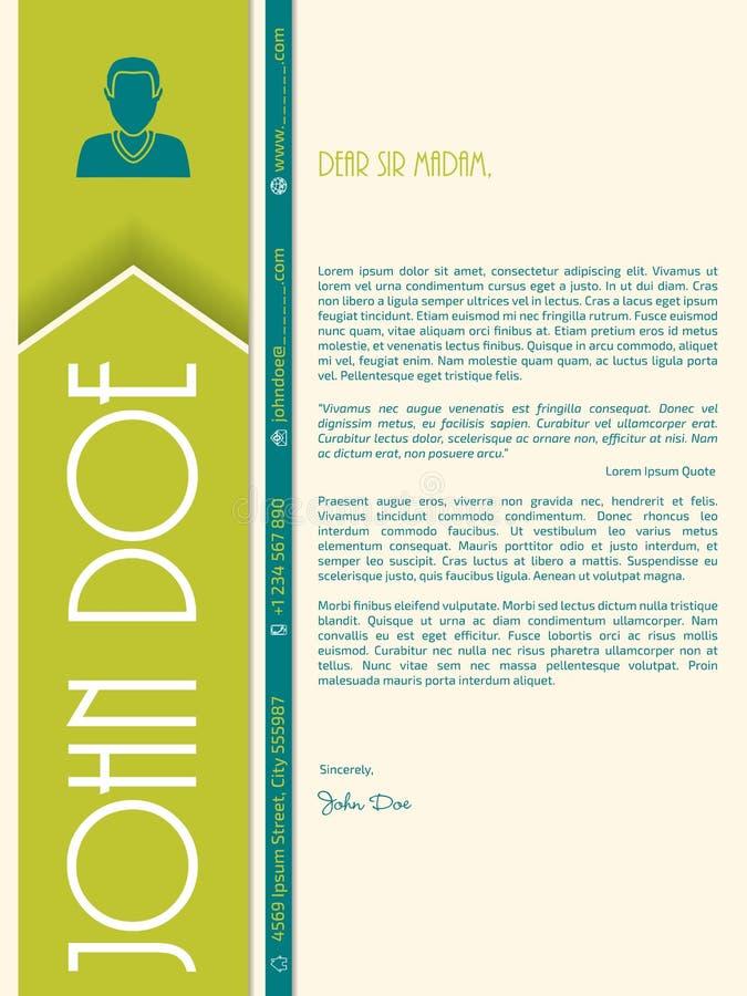 Moderne dekkingsbrief met grote brieven voor naam stock illustratie