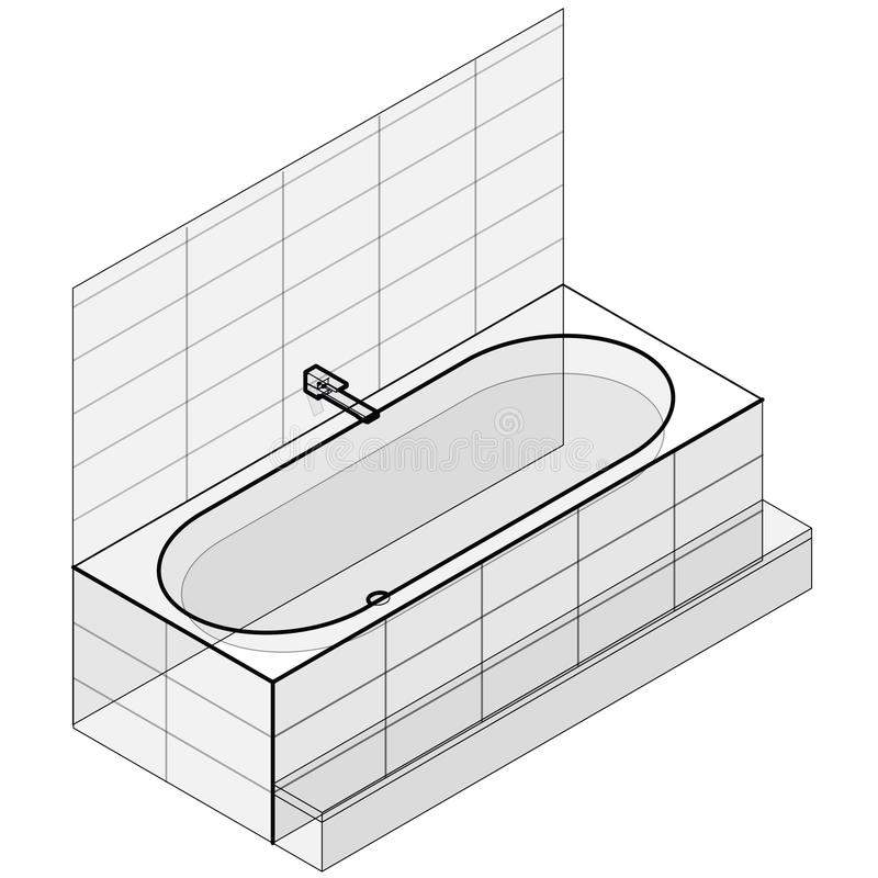 Moderne die badkuip met water wordt gevuld Geschetste isometrische vectorbadton stock illustratie