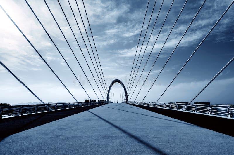 Moderne die brug in Nanjing, China wordt gevestigd royalty-vrije stock afbeeldingen