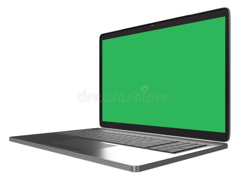 Moderne die computerlaptop op witte achtergrond met het lege scherm voor model met het cliping van weg wordt geïsoleerd stock fotografie