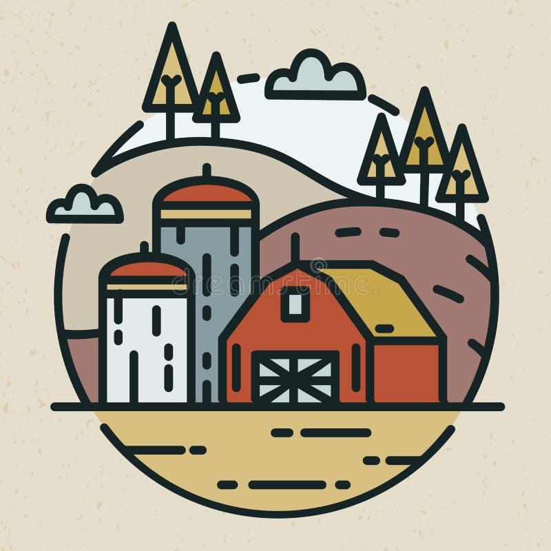 Moderne die logotype met plattelandslandschap en de landbouwbedrijfbouw met silo's voor korrelopslag in lineaire stijl wordt getr royalty-vrije illustratie