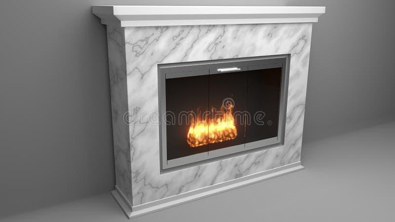 Moderne die open haard van marmer met vlammen wordt gemaakt stock illustratie
