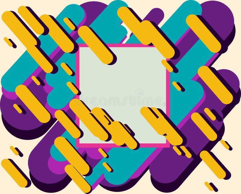 Moderne die stijlabstractie met samenstelling van diverse rond gemaakte vormen in kleur met een vierkant kader in het centrum wor royalty-vrije illustratie