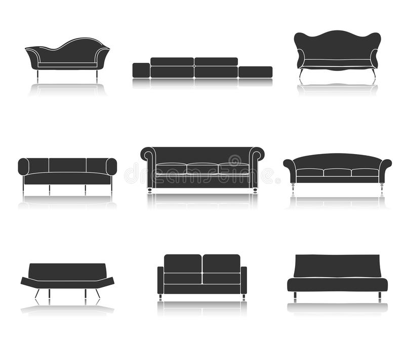 Moderne die van luxebanken en lagen meubilairpictogrammen voor woonkamer vectorillustratie worden geplaatst stock illustratie