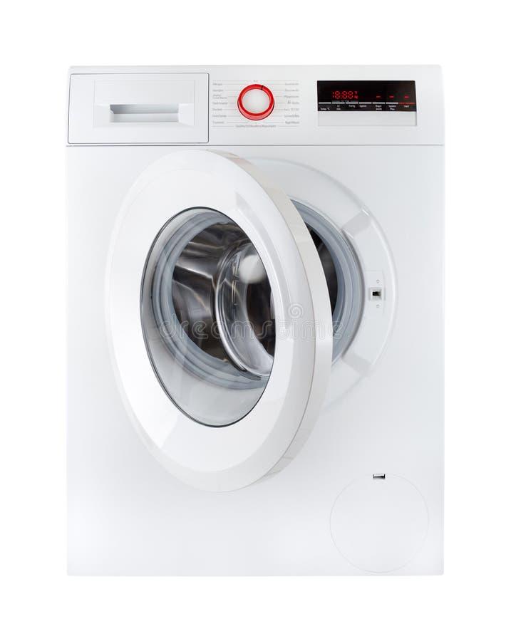 Moderne die wasmachine, open, op witte bakcground wordt geïsoleerd royalty-vrije stock afbeelding