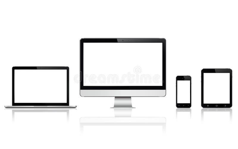 Moderne digitale Geräte mit leerem Bildschirm Lokalisiert mit Reflexion auf weißem Hintergrund lizenzfreie abbildung