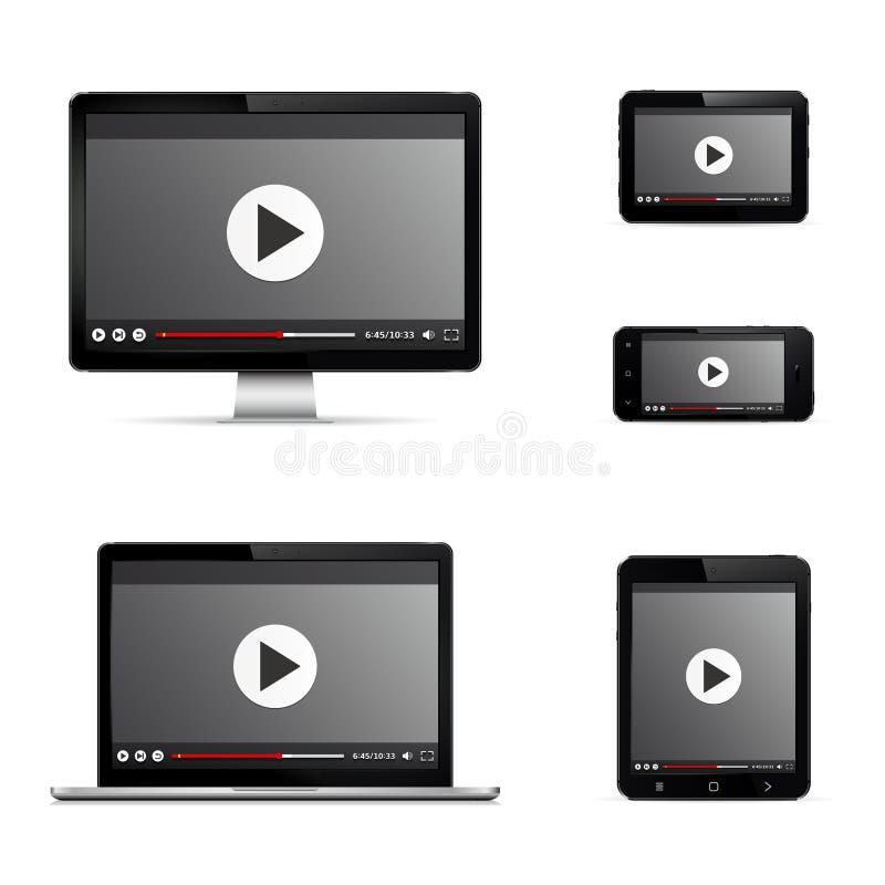 Moderne digitale Geräte mit Netzvideo-player auf Schirm stockbild
