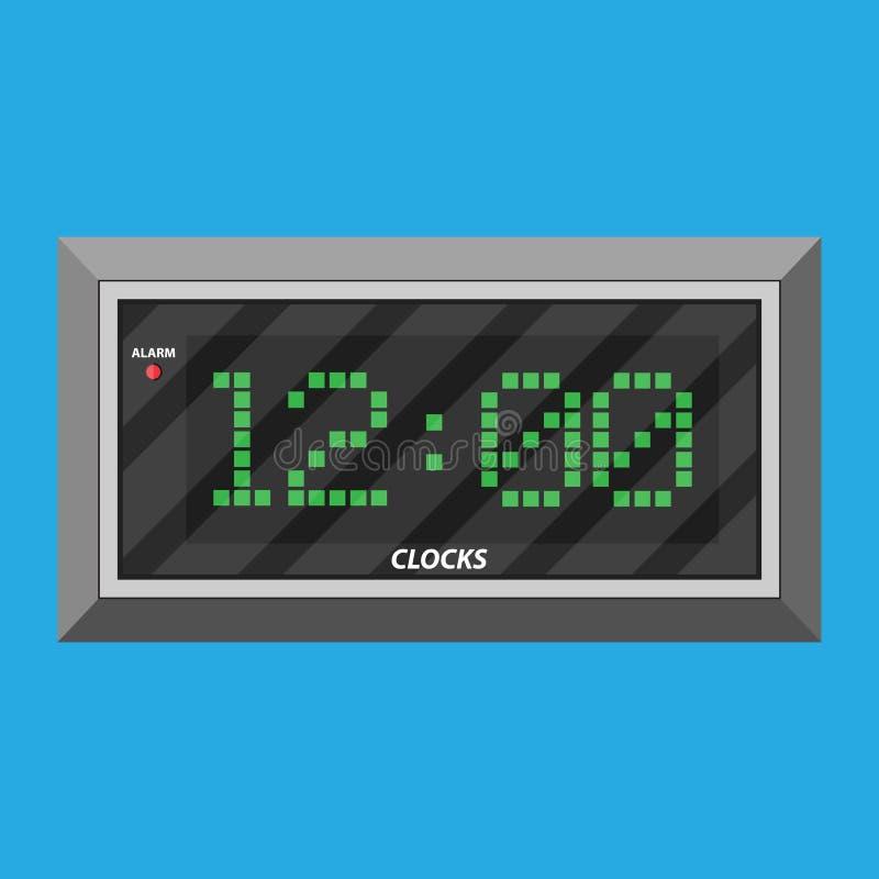 Moderne digitale klok met groene cijfers vector illustratie