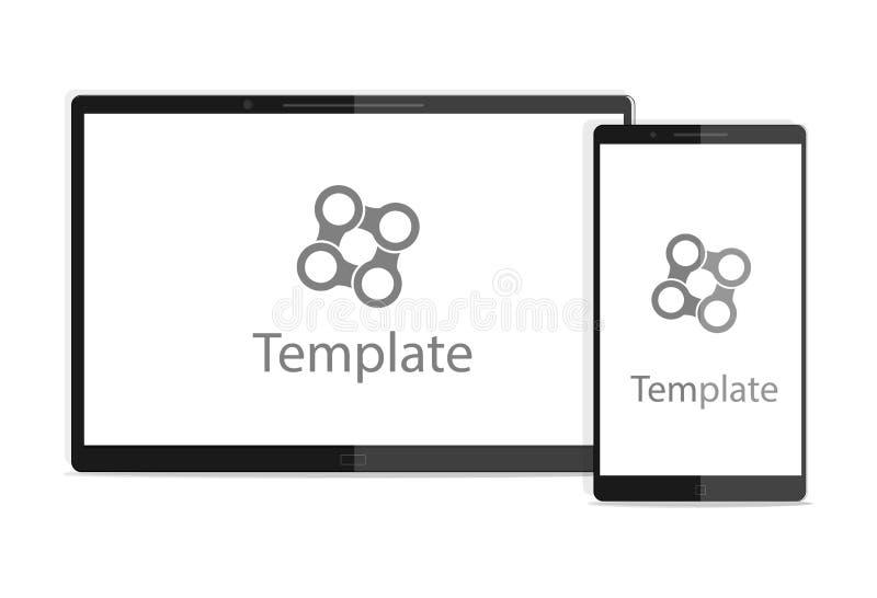 Moderne digitale tabletpc met mobiele smartphone op wit Vectorillustratie voor website vector illustratie