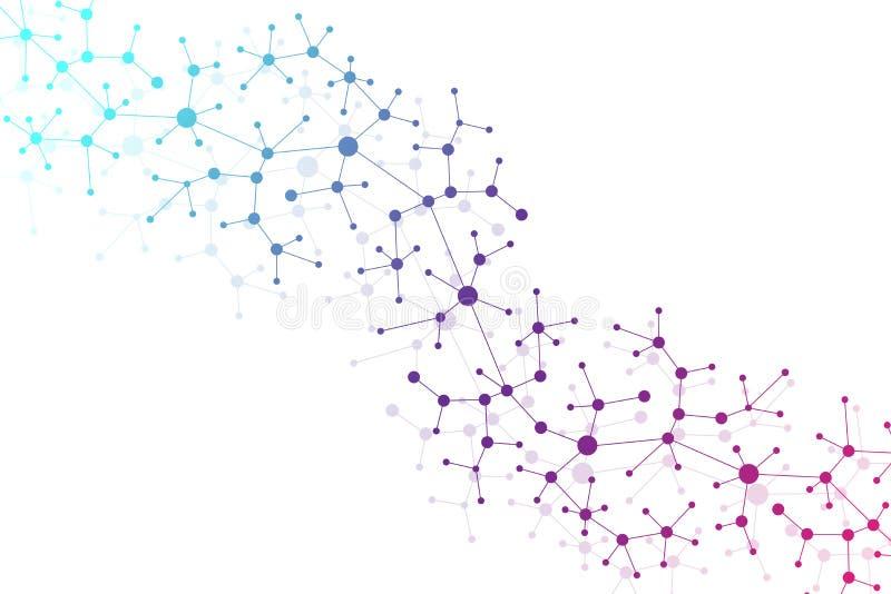 Moderne DNA van de Structuurmolecule atoom Molecule en communicatie achtergrond voor geneeskunde, wetenschap, technologie, chemie stock illustratie