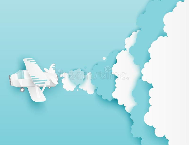 Moderne document kunstwolken en vliegend vliegtuig royalty-vrije illustratie