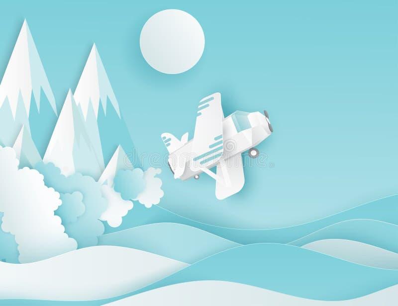 Moderne document kunstwolken, vliegtuig, zon en bergen vector illustratie