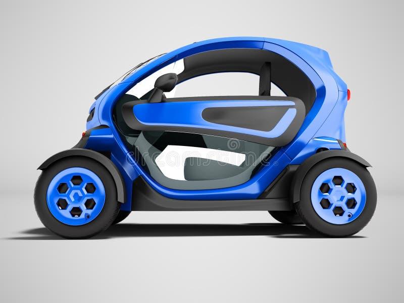 Moderne donkerblauwe elektrische auto voor stadsreizen aan twee zetels 3d ren vector illustratie