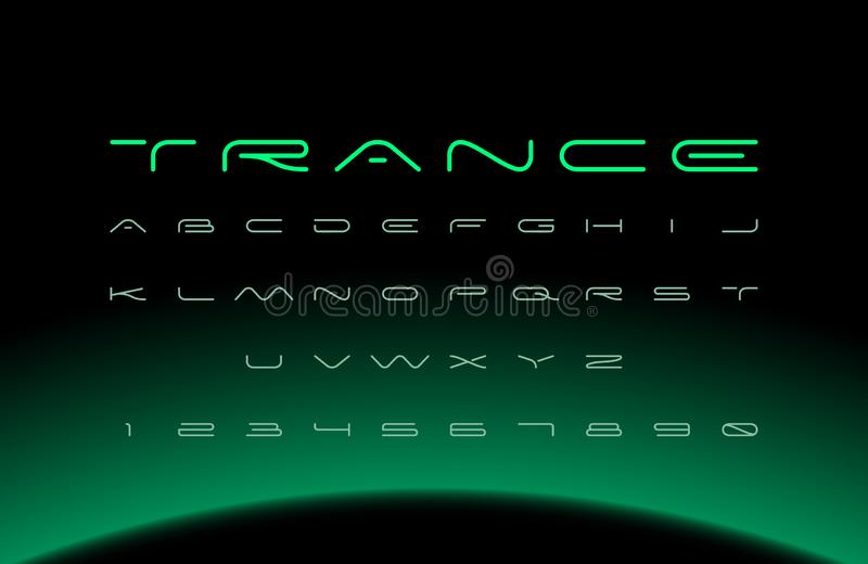 Moderne Doopvont Futuristisch vectoralfabet Brede brieven stock illustratie
