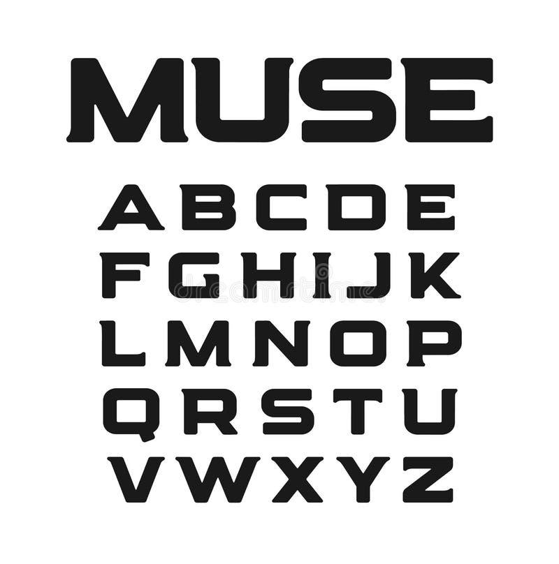 Moderne doopvont met ongebruikelijke serifs Nieuwe minimalism, klassieke geplaatste stijlbrieven Muse vectoralfabet Geïsoleerd ge vector illustratie