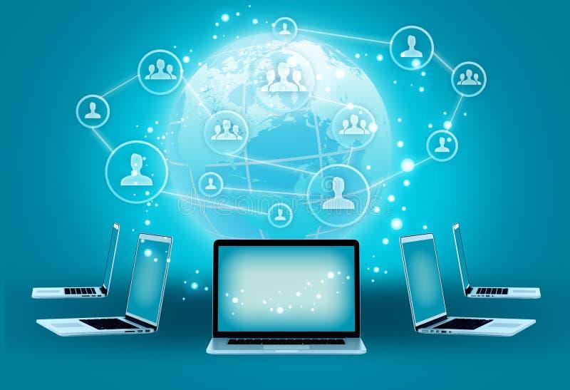 Moderne draadloze technologie en sociale media royalty-vrije illustratie