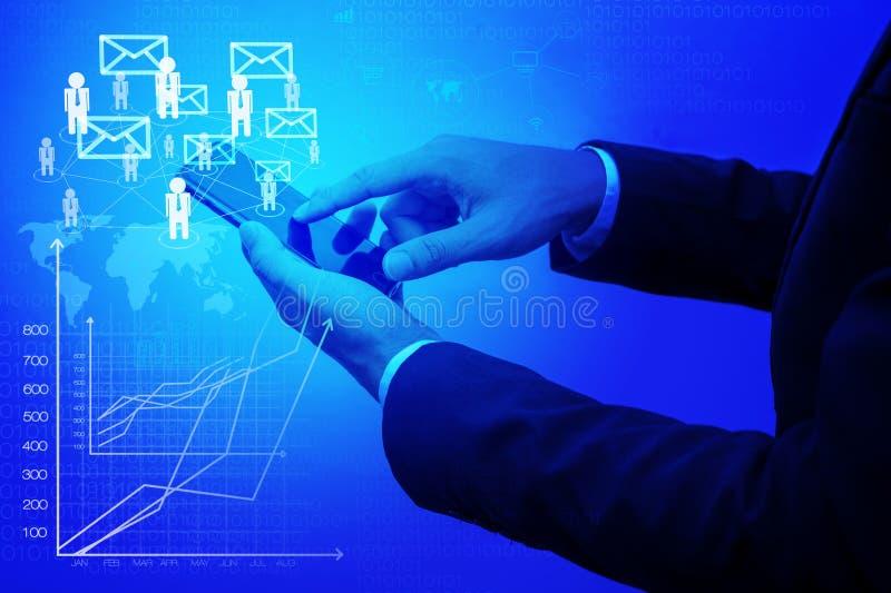 Moderne drahtlose Technologie und Sozialmedien stockbilder