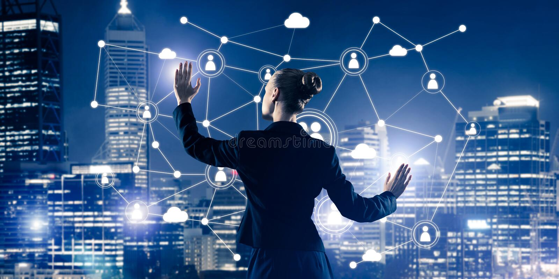Moderne drahtlose Technologien und Vernetzung als Werkzeug für effectiv lizenzfreie stockfotos