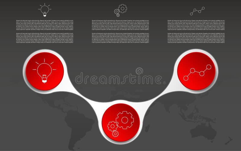 Moderne drie infographic stappen Infographics met overzichtspictogrammen stock illustratie