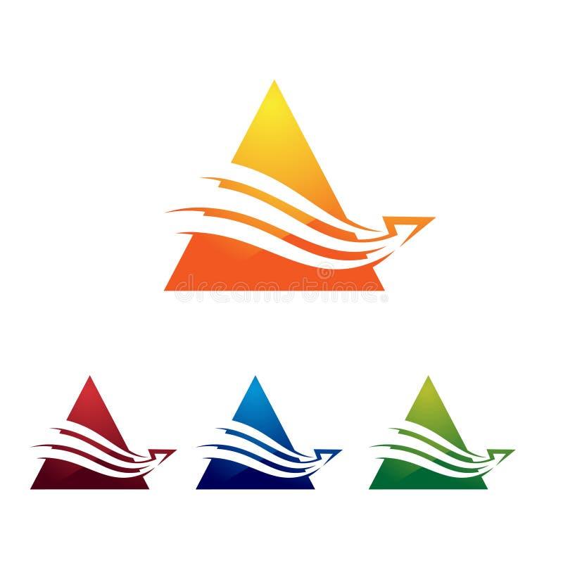 Moderne Driehoek een Brief Helder Logo Sign Template royalty-vrije illustratie