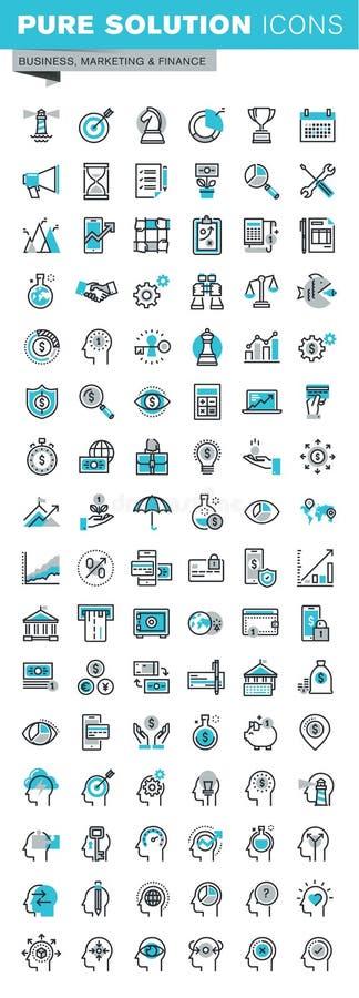 Moderne dunne de pictogrammenreeks van het lijn vlakke ontwerp zaken, financiën en personeel royalty-vrije illustratie