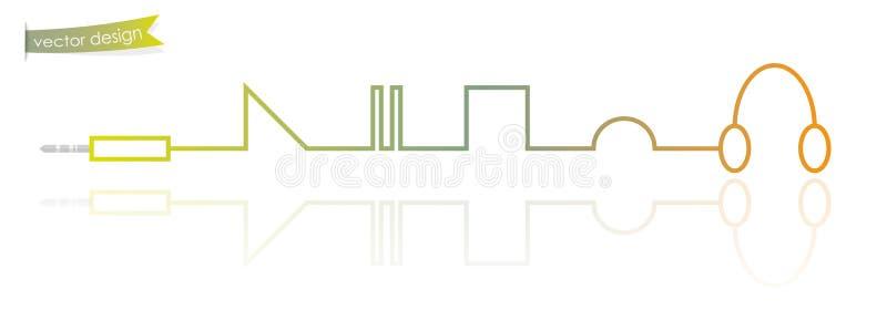 Moderne dunne lijn als concept van de muziekspeler vector illustratie