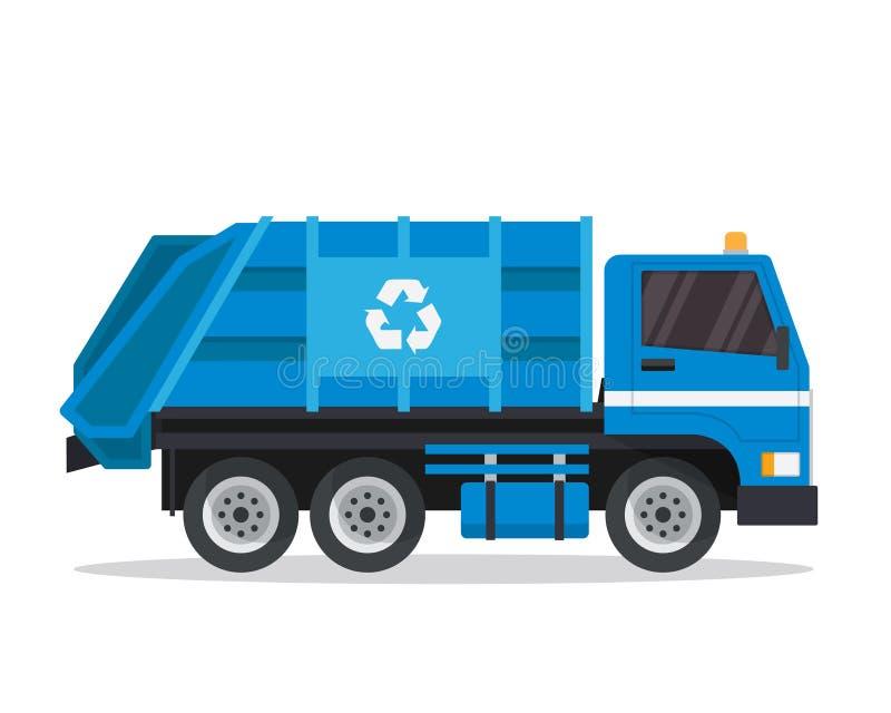 Moderne Ebene lokalisierte industrielle Müllwagen-Illustration stock abbildung