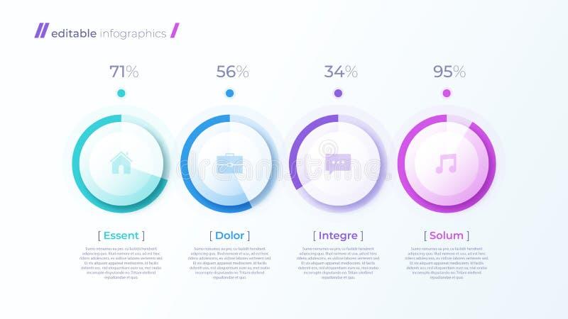 Moderne editable infographic Schablone des Vektors mit Prozentsatzdiagrammen stock abbildung