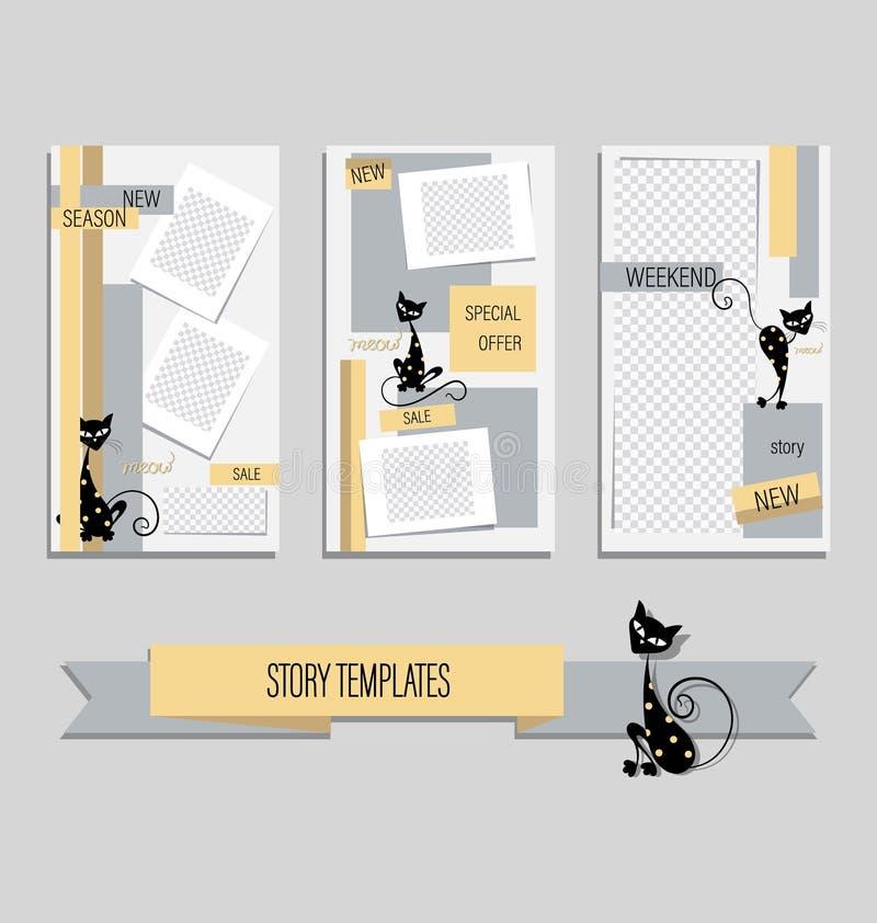 Moderne editable Schablone von netten schwarzen Katzen für lustige Geschichten stock abbildung
