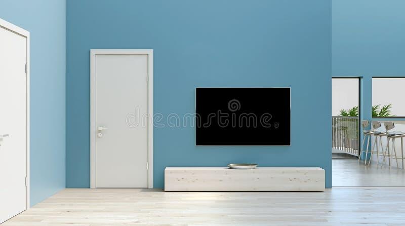 Moderne eenvoudige binnenlandse ontwerpwoonkamer met turkooise blauwe muren, hoog plafond, witte deuren en houten en steenbevloer vector illustratie