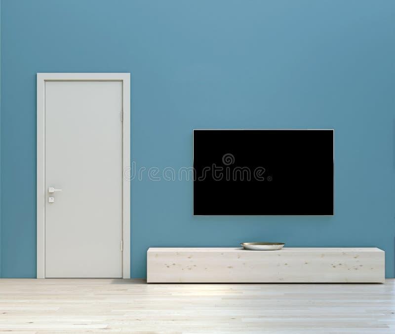 Moderne eenvoudige binnenlandse ontwerpwoonkamer met turkooise blauwe muren, hoog plafond, witte deuren en houten en steenbevloer stock illustratie