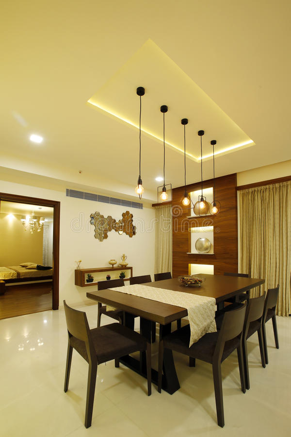 Moderne eetkamer in Calicut royalty-vrije stock afbeelding