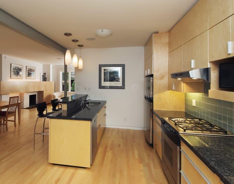Moderne eigentijdse keuken royalty-vrije stock foto's