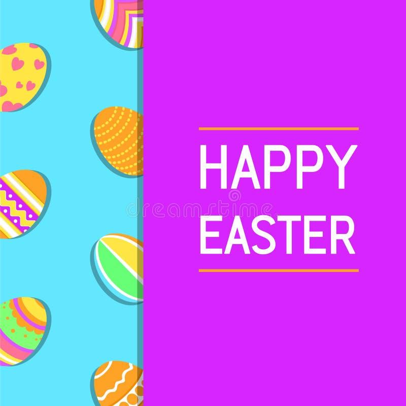 Moderne, einfache, lustige und bunte glückliche Ostern-Grußkarte mit Illustration von Eiern und von Text lizenzfreie abbildung