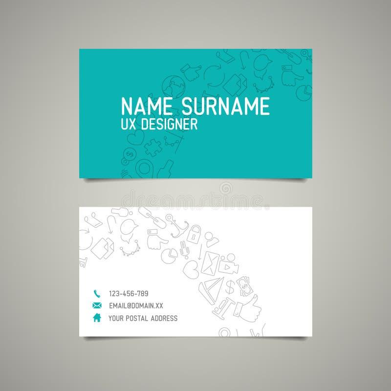 Moderne einfache Visitenkarteschablone für ux Designer lizenzfreie abbildung