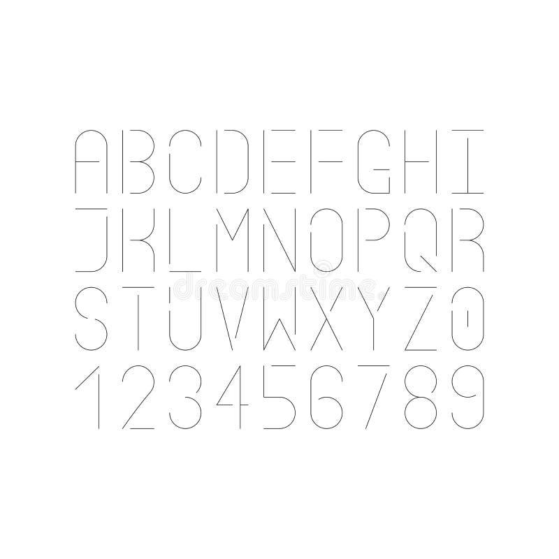 Moderne einzelne dünne Linie Guss Vektorversalienbuchstaben und -zahlen Infographic und futuristisches Design lizenzfreie abbildung