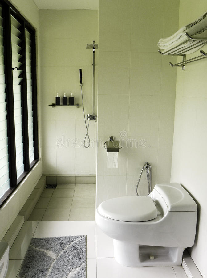 Moderne elegante badkamers, natuurlijke verlichting royalty-vrije stock fotografie