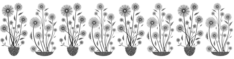 Moderne elegante nahtlose Vektormit blumengrenze in Schwarzweiss auf weißem Hintergrund Handgezogene Blumen und gemasert lizenzfreie abbildung